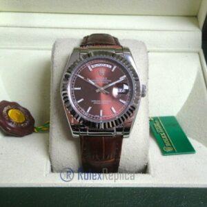 rolex replica daydate white gold charry strip leather orologio replica copia imitazione