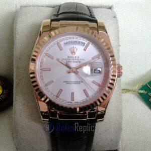 rolex replica daydate rose gold argentèè strip leather orologio replica copia imitazione