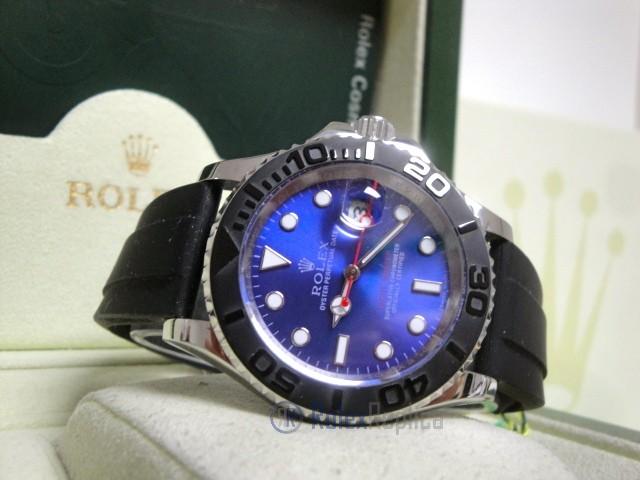 rolex replica yacht master I strip rubber-b dial blue basilea