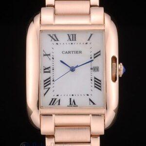 Cartier replica tank americaine rose gold white dial orologio imitazione perfetta
