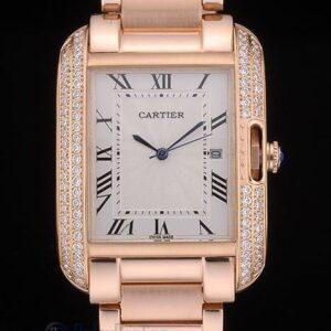 Cartier replica tank americaine rose gold white dial brillantini bezel orologio imitazione perfetta
