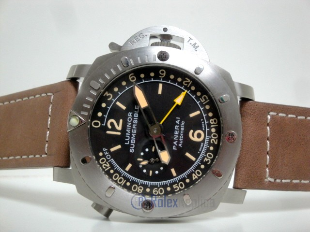 Panerai replica luminor marina submersible depth gauge acciaio strip leather imitazione copia