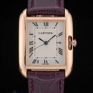 Cartier replica tank americaine rose gold strip leather cherry orologio imitazione perfetta