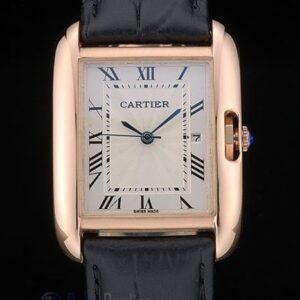 Cartier replica tank americaine rose gold strip leather black orologio imitazione perfetta