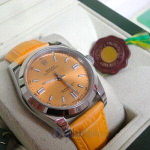 rolex replica datejust acciaio oyster perpetual yellow dial leather orologio imitazione