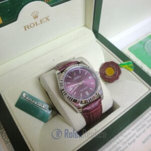 rolex replica datejust acciaio oyster perpetual red grape leather orologio imitazione