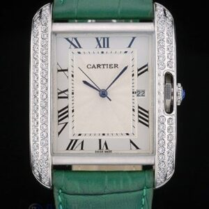 Cartier replica tank americaine acciaio brillantini bezel strip leather green orologio imitazione perfetta