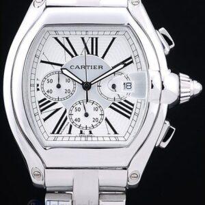 Cartier replica roadster white dial acciaio orologio imitazione perfetta