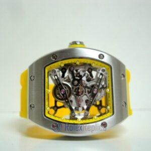 richard mille replica RM038 bubba watson skeletron yellow limited edition strip rubber-b
