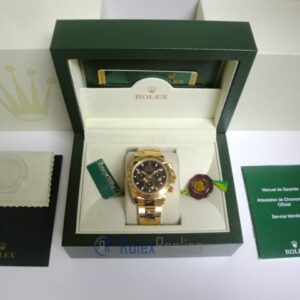 Rolex replica Daytona Yellow Gold 116528 Black Baton Dial orologio copia