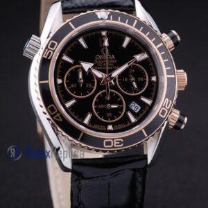Omega replica seamaster co-axial chrono strip leather black dial imitazione copia
