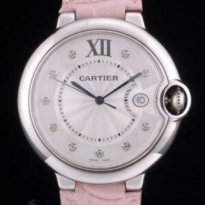 Cartier replica ballon bleu acciaio strip leather pink orologio imitazione perfetta