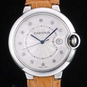 Cartier replica ballon bleu acciaio brillantini strip leather orologio imitazione perfetta