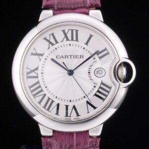 Cartier replica ballon bleu acciaio strip leather violet orologio imitazione perfetta