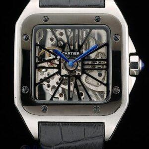 Cartier replica santos skeletron ceramichon strip leather orologio imitazione perfetta
