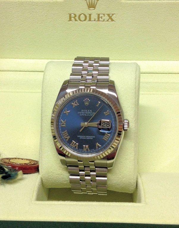 Rolex replica Datejust 116234 36mm Blue Roman orologio copia