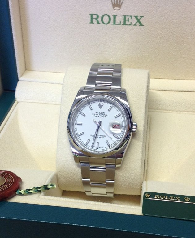 Rolex replica Datejust roulette 36mm White Baton Dial Domed Bezel 116200