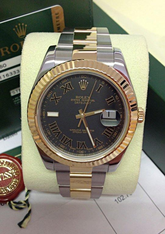 Rolex replica Datejust II black roman 116333 Bi-Colour 41mm