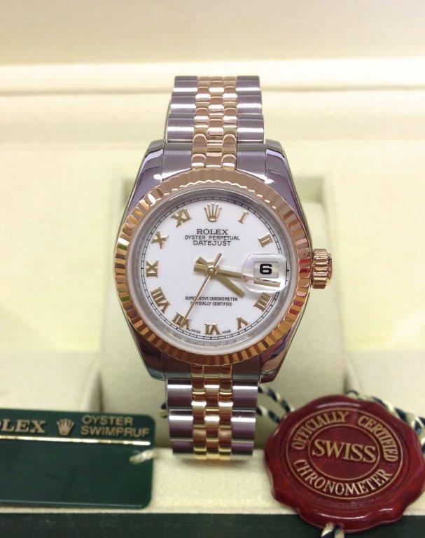 rolex replica datejust lady 179173 bi-colour acciaio oro roman dial