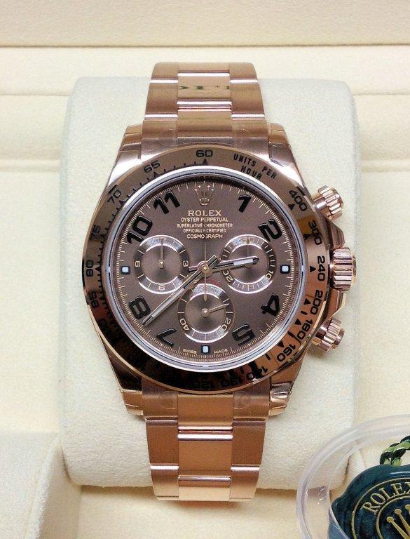 Rolex replica Daytona 116505 Rose Gold Chocolate Dial orologio replica