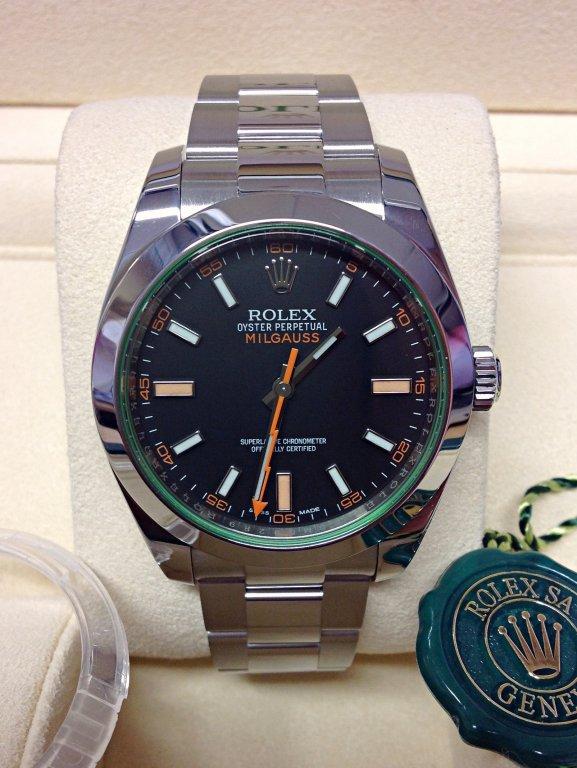 rolex replica milgauss black dial green glass sapphire orologio replica copia lusso imitazione