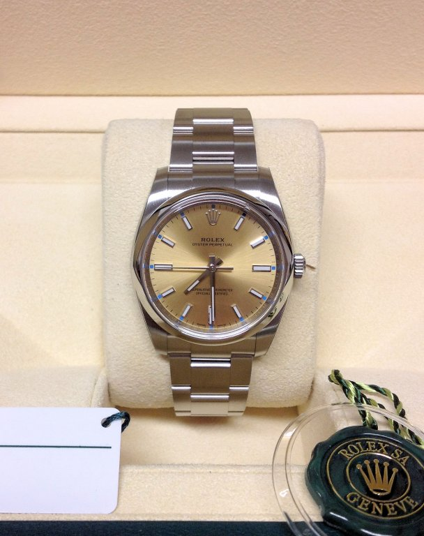 rolex replica datejust acciaio oyster perpetual yellow dial orologio imitazione