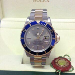 Rolex replica Submariner Date 16613 Bi-Colour Serti blue dial