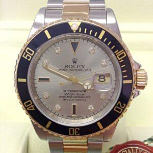 Rolex replica Submariner Date 16613 Bi-Colour Serti black dial