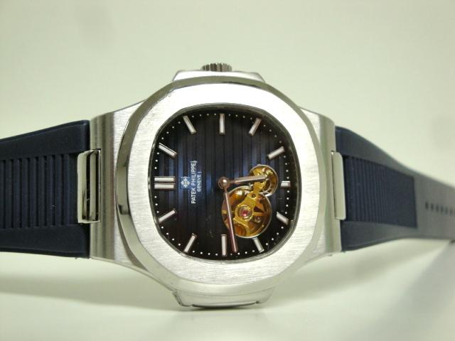 patek philippe replica acciaio nautilus tourbillon blue dial strip rubber