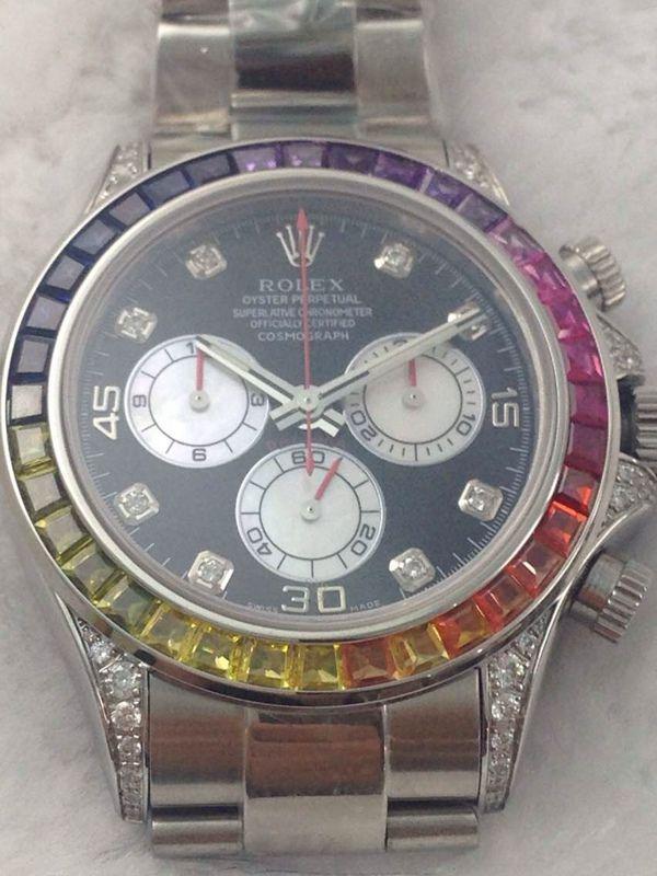 rolex replica daytona rainbow full diamonds oro bianco orologio replica