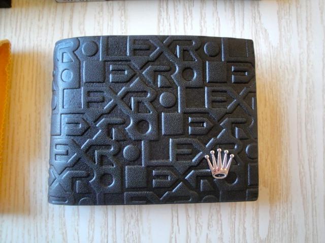 Rolex replica portafoglio in vera pelle con corona e logo rolex
